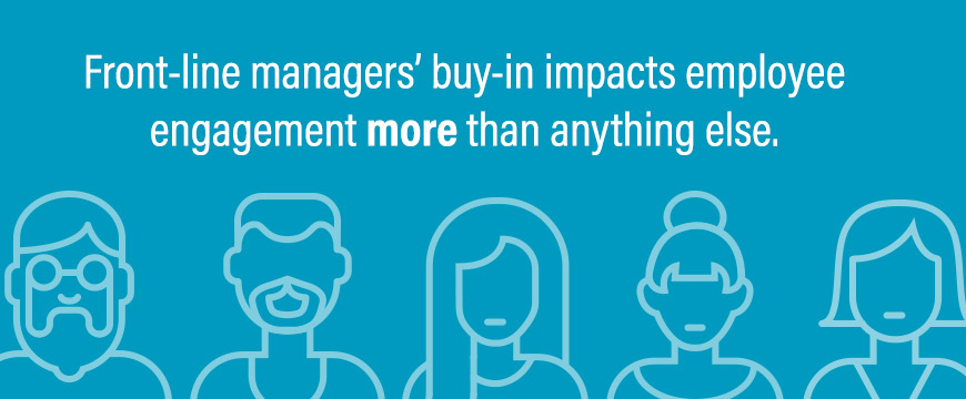 Front-line managers' buy-in impacts employee engagement more than anything else