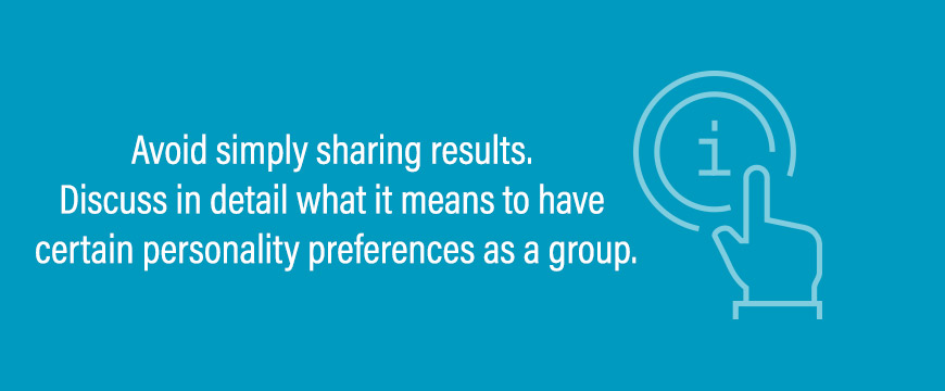 Graphic: Avoid simply sharing results. Discuss in detail what it means to have certain personality preferences as a group