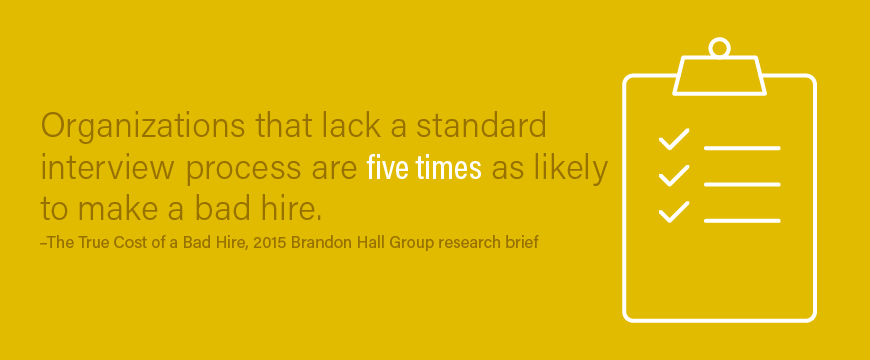 Graphic: Organizations that lack a standard interview process are 5x as likely to make a bad hire. —Brandon Hall Group